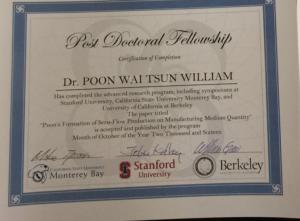 四位會員榮獲首批史丹福大學/伯克來加州大學/加州州立大學 博士後文憑