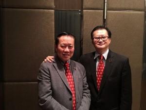 2016年2月29日晚宴後協會會長陳勤業博士後和協會榮譽顧問何鍾泰博士工程師SBS JP MBE SBStJ(前全國人大代表兼前香港立法會議員)